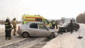 В Архангельской области в лобовой аварии пострадали 2 человека