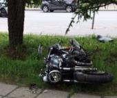 В Архангельске мотоциклист влетел в тротуар из-за аварии