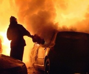 Автомобиль марки «Лада Калина» сгорел в Архангельске ночью